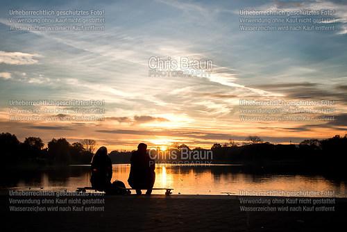 Sonnenuntergang mit Blick über den Aasee