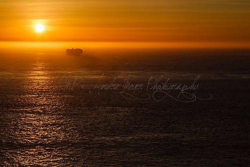 San Francisco Bay - Schiff im Sonnenuntergang