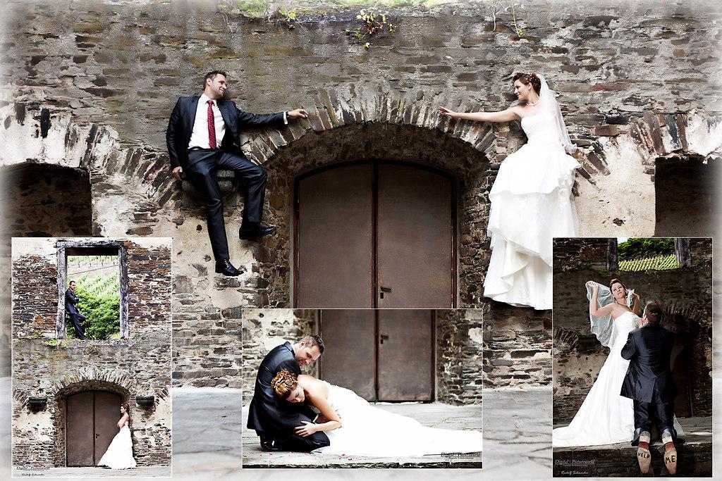 Hochzeit Colage Mauer