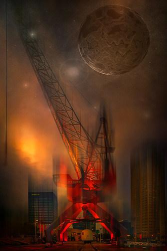 Moon and crane