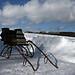 Pferderennschlitten im Schnee  (B100201bmw42_IMG_2157) - 01.02.2010; Pferdeschlitten wartet auf die Pferde für die Fahrt durch den Kerschlacher Forst