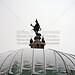 München Odeonsplatz Winter (B1001bmw42_8835) - 08.01.2010; München; Odeonsplatz; Pavillon hinter der Staatskanzlei, Rondell im Winter, bewölkter Himmel und Schnee