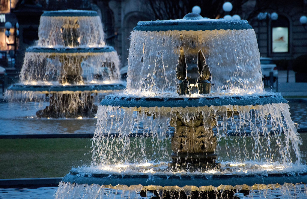 Cascade fountains (Cascade fountains) | Cascade fountains | Germany, Wiesbaden, cascades, fountain, water, blue, flowing, blue hour