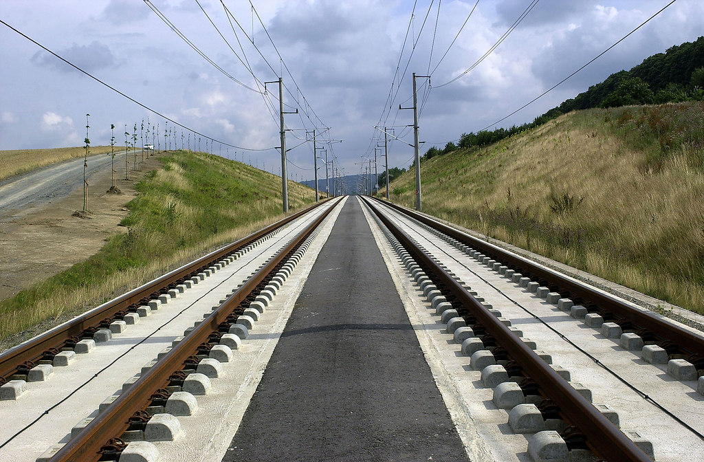 Modern Railroad II (Modern Railroad II) | Modern railroad tracks | railroad, electricity pylon, the way forward, outdoors, sky, nature, track, no people, parallel, grass