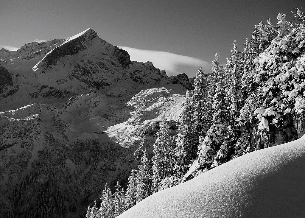 Mountain (Mountain) | Alpspitze black and white | Garmisch, Partenkirchen, Mountain, Alpspitze, snow, winter, black and white, tranquil scene, calm, destination, cold, scenic
