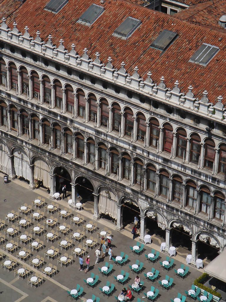 St. Mark's Square (Venice) | High angle view of St. Mark's Square in Venice | Italy, Venice, St. Mark's Square, high angle view, in a row, travel destination, parasols, roof windows, columns, pillars, people