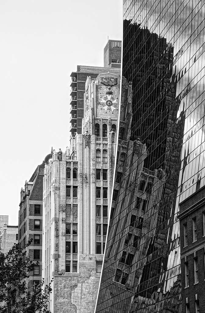 Distortion (Distortion) | Skyscraper in New York City black and white | building exterior, Architecture, City built, structure, outdoors, no people, day, skyscraper, monochrome
