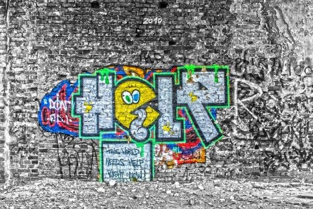 World need help (hdrtm_dsc0067-web_180440_by-adlerauge64_piqs_de) | Wie wahr (piqs.de ID: ccb41f95d5de87f163791143fd2b38c0) | Welt, Hilfe, Graffiti, Ruine, Fabrik