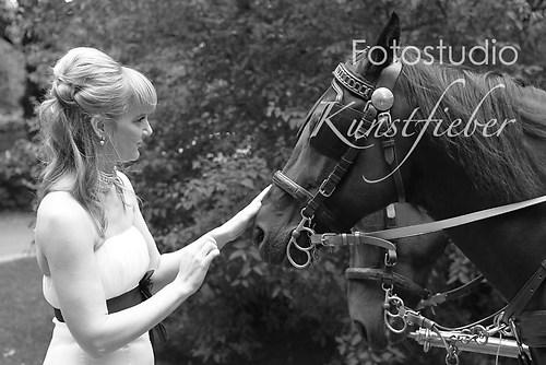 Braut und Kutschpferd