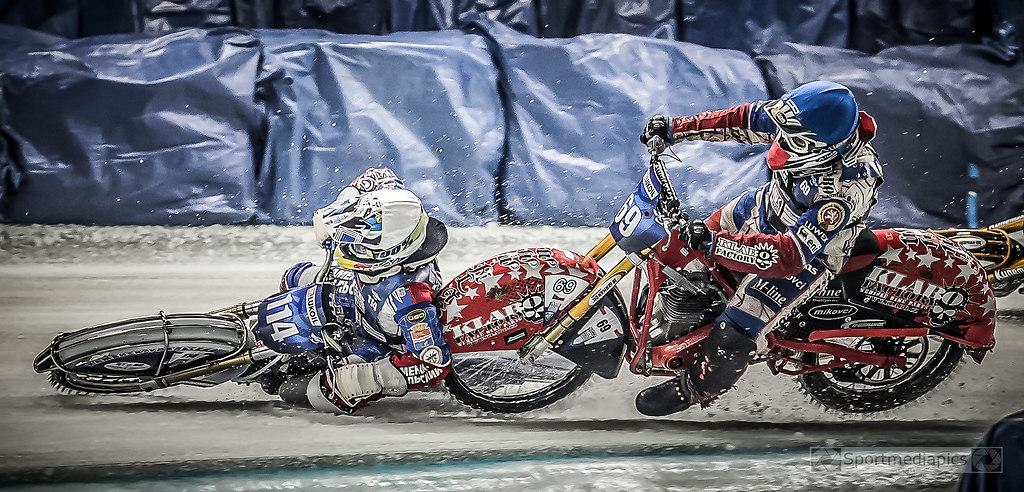 ICE SPEEDWAY WM INZELL  (180317bmmac7842-2) | SPORT, MOTORSPORT, ICE SPEEDWAY INZELL  ,17.03.2018 ,  IM BILD: # 114 Dinar Vallev vs # 69 Jan... | EISSPEEDWAY, FIM, FORMEL1, MOTO GP, Motorsport