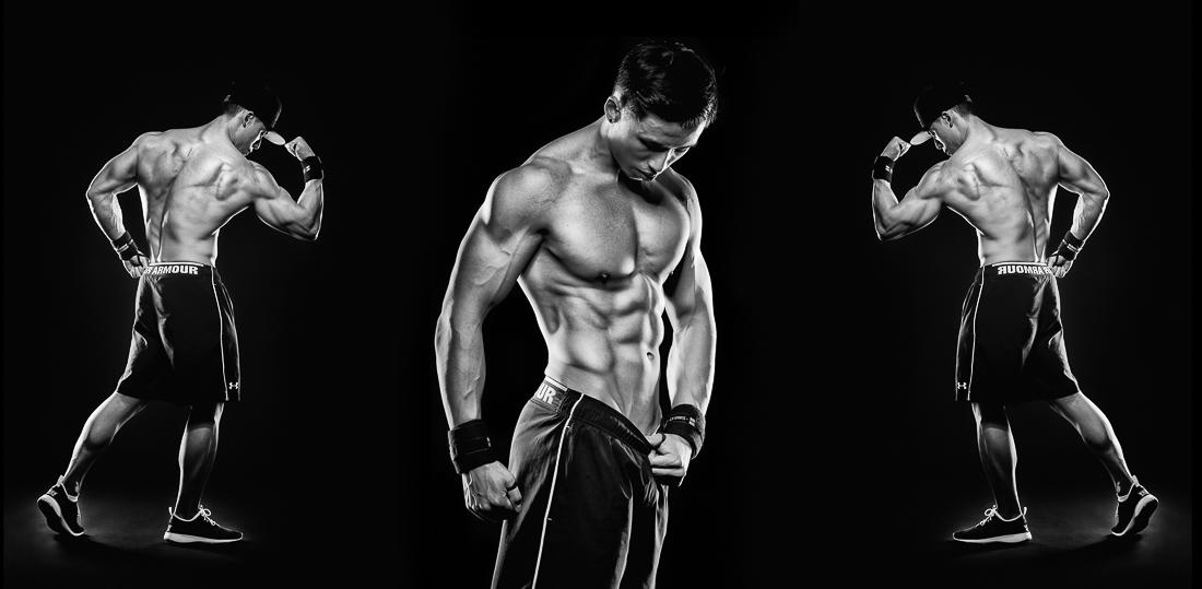 Sportler Portrait Bodybuilder in Schwarz-Weiß