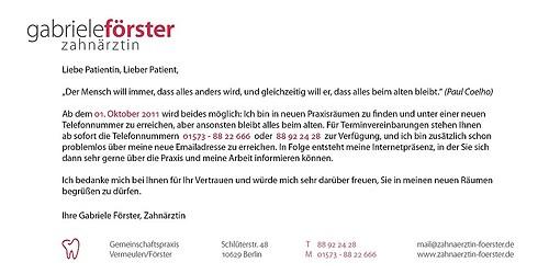Zahnärztin Gabriele Förster | Flyer Praxiseröffnung (Rückseite)