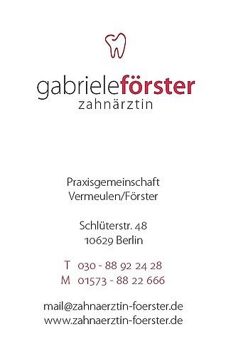 Zahnärztin Gabriele Förster - Visitenkarte