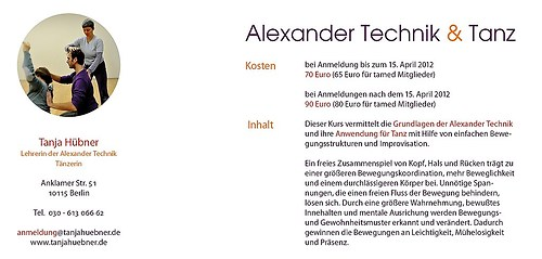 Tanja Hübner   Alexandertechnik & Tanz - Flyer Workshop (Rückseite)