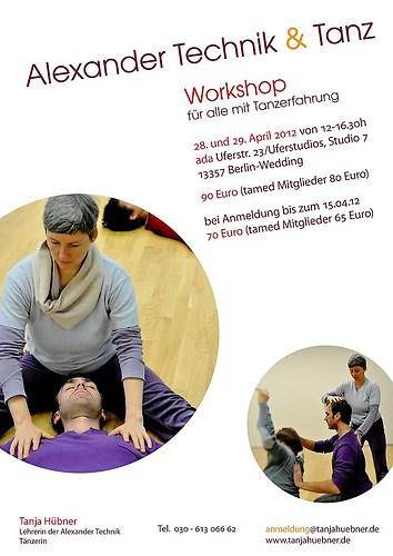 Tanja Hübner   Alexandertechnik & Tanz - Plakat Workshop