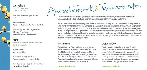 Tanja Hübner   Alexandertechnik & Tanz - Vhs Workshop (Rückseite)