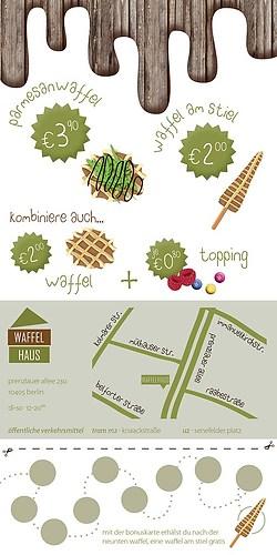 Waffelhaus | Flyer mit Bonus-/Visitenkarte (Rückseite)