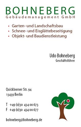 Bohneberg GmbH | Visitenkarte (Rückseite) Logogestaltung