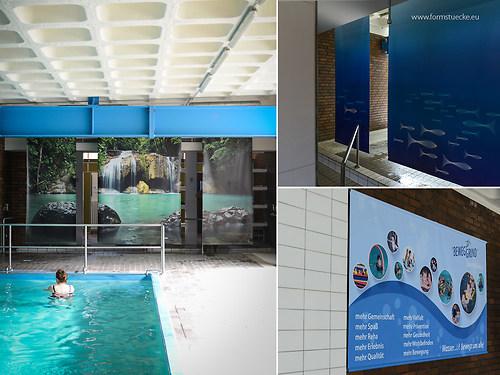 GST | Grafik Duschabtrennung und Banner Schwimmbad