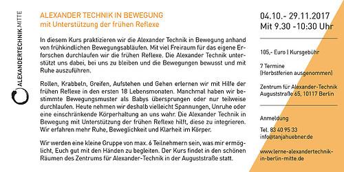 Grafik formstücke | Alexander Technik | Flyer DIN lang Rückseite