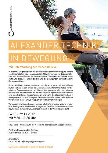 Grafik formstücke | Alexander Technik | Flyer DIN lang Vorderseite