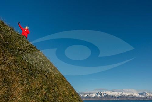 """""""Red Selfie, Reykjavik (Þúfa by Ólöf Nordal)"""" (EISLAND_6891)"""