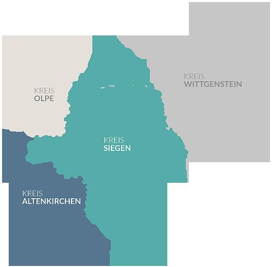 Karte der Kreisgebiete