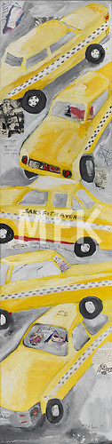 yellow cabs on grey color