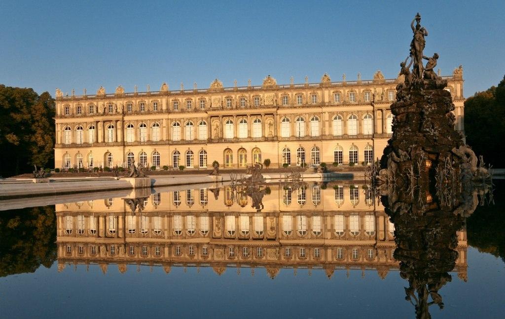 Schloss Herrenchiemsee Abendsonne Spiegelung - 01 Kopie