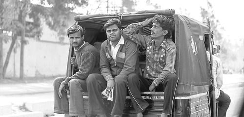 Wandbild Indien Arbeiter auf dem Heimweg